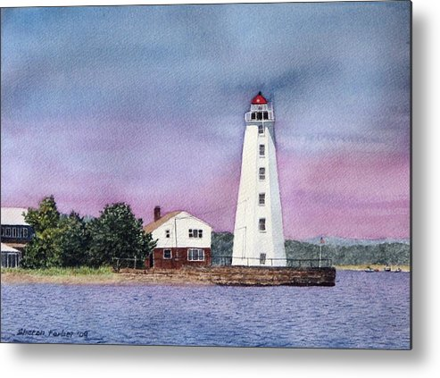 Lighthouse Metal Print featuring the painting Lynde Point Lighthouse by Sharon Farber