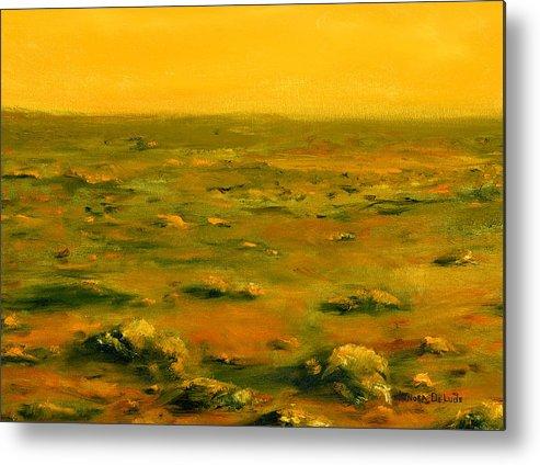Orange Metal Print featuring the painting Martian Desert Landscape Art by Lenora De Lude