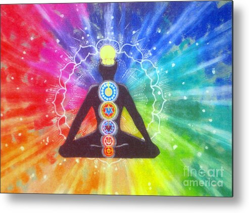 Inpirational Metal Print featuring the painting Meditation by Shasta Eone