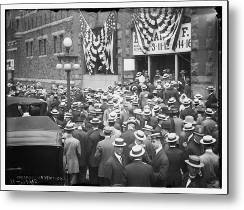 Chicago Metal Print featuring the photograph Men At 1912 Republican National Convention by Historic Photos