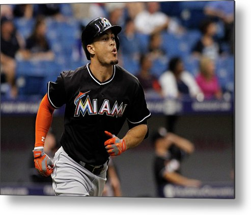 American League Baseball Metal Print featuring the photograph Miami Marlins V Tampa Bay Rays by Brian Blanco