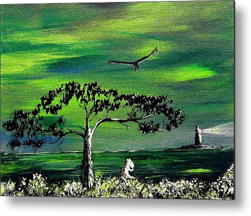Decotarive Metal Print featuring the painting Moomintroll And Lighthouse by Anastasiya Malakhova