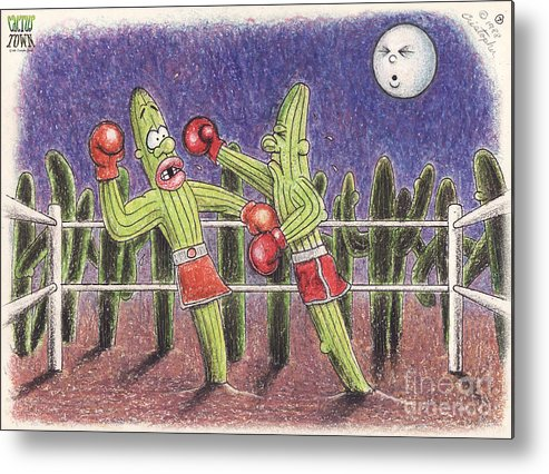 Cactus Town Metal Print featuring the digital art Moonlight Fight by Cristophers Dream Artistry