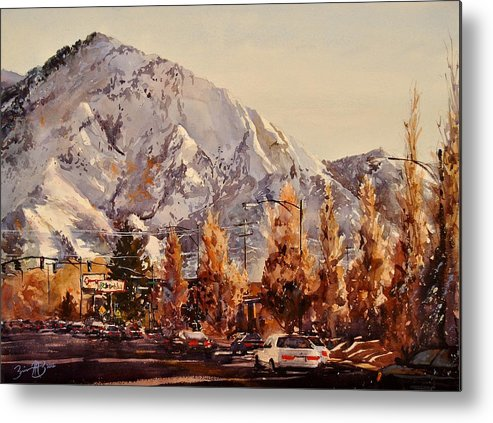 Watercolor Metal Print featuring the painting Mount Olympus by Brienne M Brown