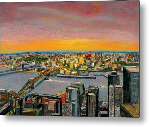 Cityscape Metal Print featuring the painting New York 38 by Karin Batten