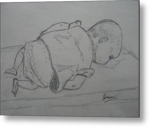 Life Drawing Metal Print featuring the drawing Newborn by Pat Mullan