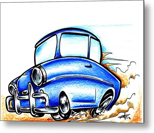 Car Metal Print featuring the drawing Old Blue by Big Mike Roate