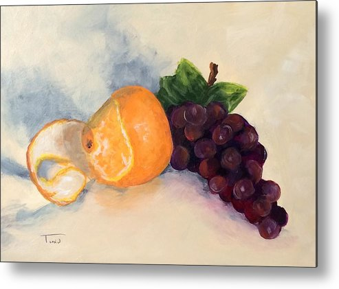 Orange Metal Print featuring the painting Orange And Grapes by Torrie Smiley