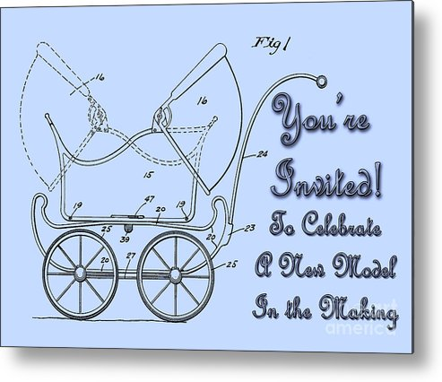 1923 Metal Print featuring the digital art Patent Art Robinson Baby Carriage Invite-blue by Lesa Fine