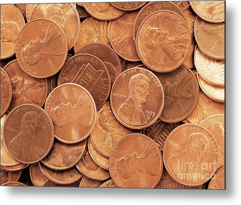 Penny Metal Print featuring the photograph Pennies by David Davis