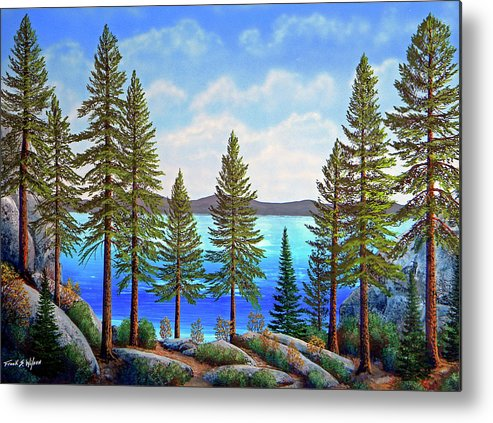 Gouache Metal Print featuring the painting Pine Woods Lake Tahoe by Frank Wilson