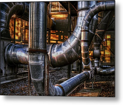 Industrial Metal Print featuring the photograph Pipes by Rick Mosher