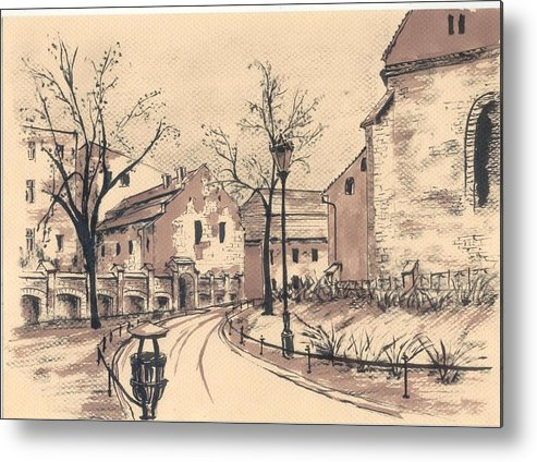 Old City Metal Print featuring the drawing Planty Cracow by Monika Golebiowska
