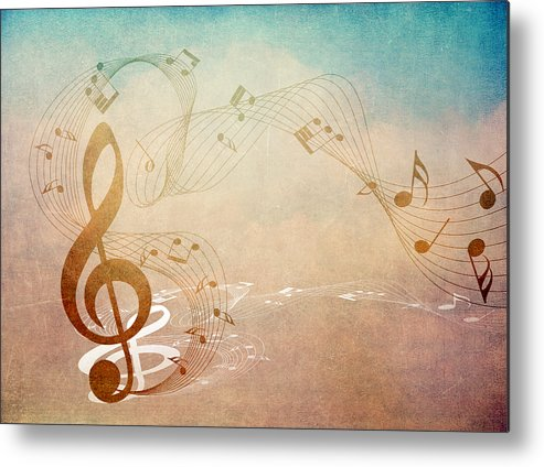 Music Metal Print featuring the mixed media Please Dont Stop The Music by Angelina Vick