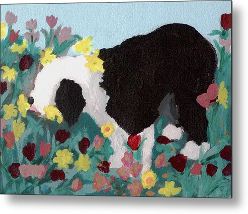 Old English Sheepdog Metal Print featuring the mixed media Puppy Stops To Eat The Flowers by Cathy Howard
