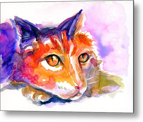 Cat Metal Print featuring the painting Purple Buddy by Bill Stork