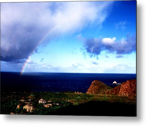 Nature; Scenics; Rainbow; Baja California; Travel; Still Lifes; Fine Art. Metal Print featuring the photograph Rainbow At Punta Banda by Robert Rodvik