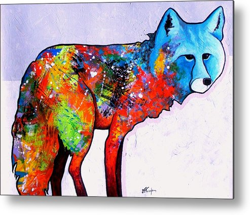 Animal Metal Print featuring the painting Rainbow Warrior - Fox by Joe Triano
