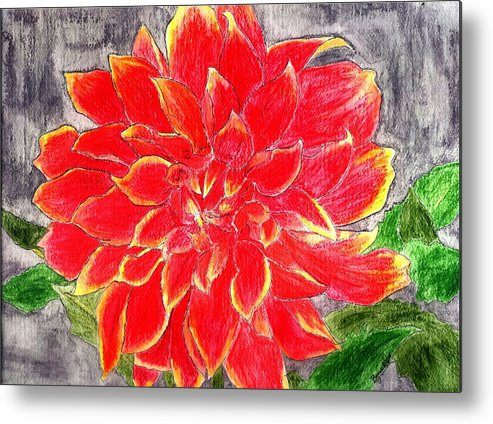 Flower Metal Print featuring the painting Red Dalia by Margie Byrne