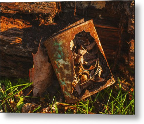 Landscape Metal Print featuring the painting Rusted Can Of Leaves by Jack Zulli
