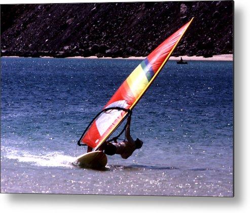 Sports; Sailboarding; Bahia Concepcion; Baja California; Mexico; Travel; Still Lifes; Fine Art. Metal Print featuring the photograph Sailboarder by Robert Rodvik