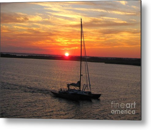 Sunset Metal Print featuring the photograph Sailing Past The Sunset by Deborah A Andreas