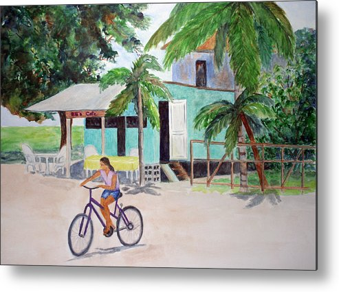 San Pedro Metal Print featuring the painting San Pedro Cafe by Patricia Beebe