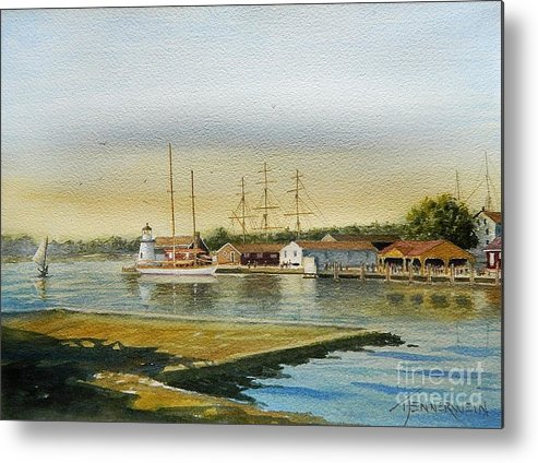 Lighthouse Metal Print featuring the painting Seaport Lighthouse by Tom Jennerwein