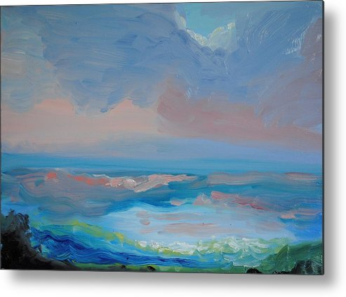 Seascape Metal Print featuring the painting Seascape Calm by Patricia Kimsey Bollinger