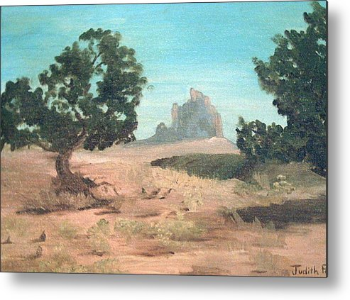 Mountain Metal Print featuring the painting Ship Rock New Mexico by Judi Pence