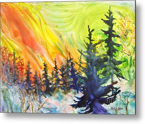 Vibrant Metal Print featuring the painting Skyfire by Betsy Bear