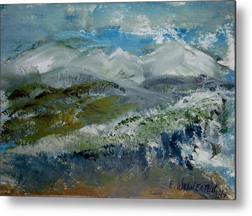 Mountain Metal Print featuring the painting Snow Drifts On The Hill by Edward Wolverton