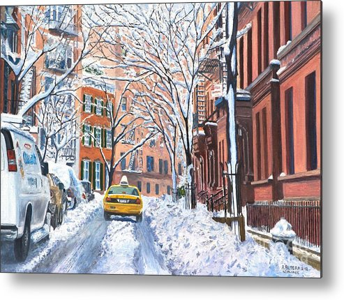 Snow Metal Print featuring the painting Snow West Village New York City by Anthony Butera