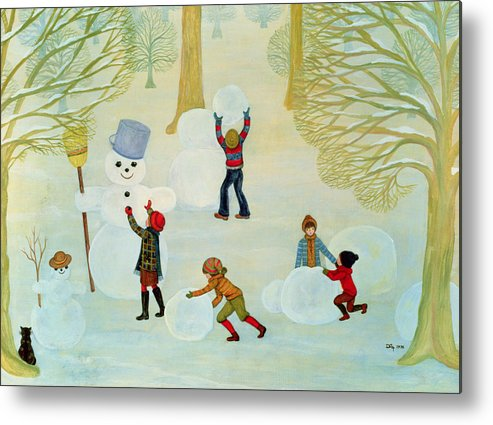 Winter Metal Print featuring the painting Snowmen by Ditz