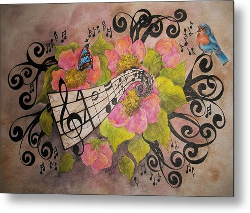 Music Metal Print featuring the painting Song Of My Heart And Soul by Meldra Driscoll