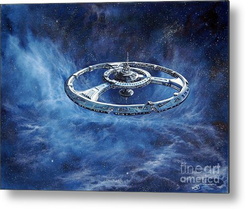Sci-fi Metal Print featuring the painting Deep Space Eight Station Of The Future by Murphy Elliott