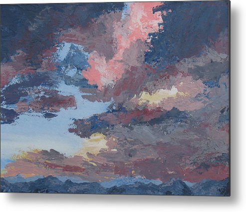 Stormy Sky Metal Print featuring the painting Storm A Brewin by Janis Mock-Jones