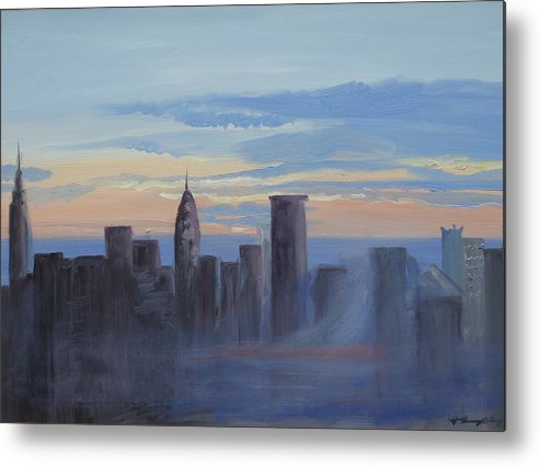 New York Metal Print featuring the painting Sunset In New York by Patricia Kimsey Bollinger