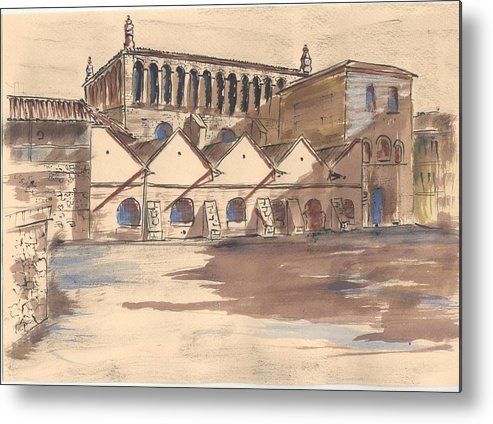 Old City Metal Print featuring the drawing Synagoga Cracow by Monika Golebiowska