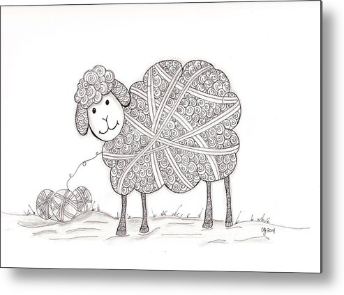 Zentangle Metal Print featuring the drawing Tangled Sheep by Christianne Gerstner