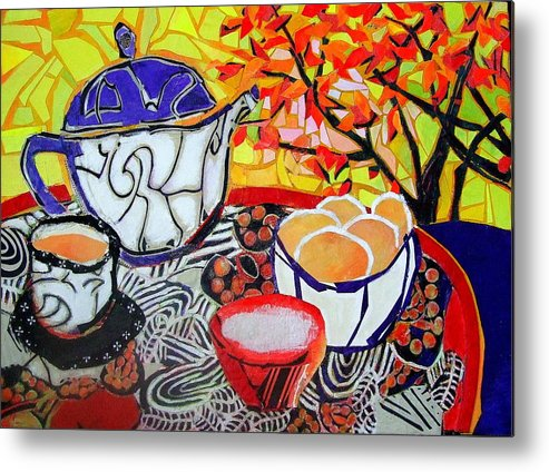 Mixed Media Expressionist Painting Metal Print featuring the mixed media Tea And Eggs by Diane Fine
