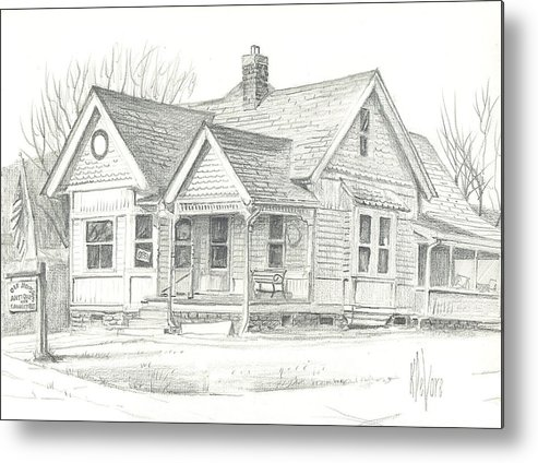The Antique Shop Metal Print featuring the drawing The Antique Shop by Kip DeVore