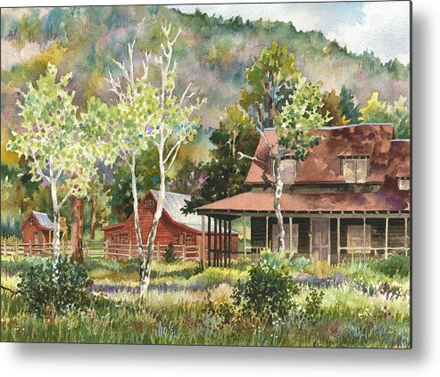 Barn Painting Metal Print featuring the painting The Delonde Homestead At Caribou Ranch by Anne Gifford