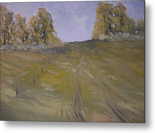 Oil Metal Print featuring the painting The Fence Row by Dwayne Gresham