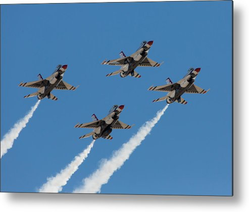 Usaf Metal Print featuring the photograph Thunderbirds Diamond Flyover by John Daly