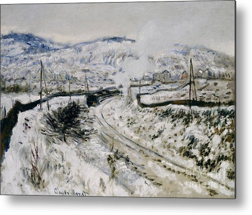 Winter Metal Print featuring the painting Train In The Snow At Argenteuil by Claude Monet