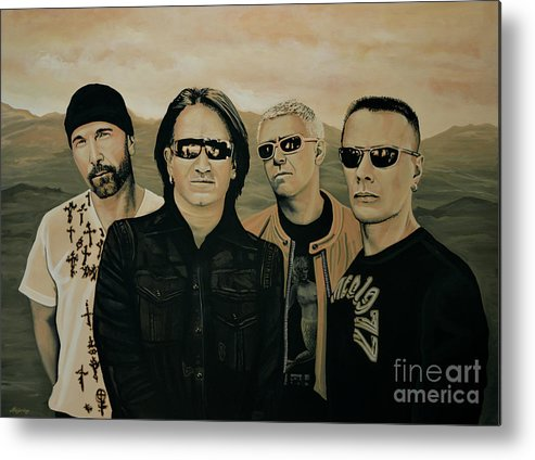 U2 Metal Print featuring the painting U2 Silver And Gold by Paul Meijering