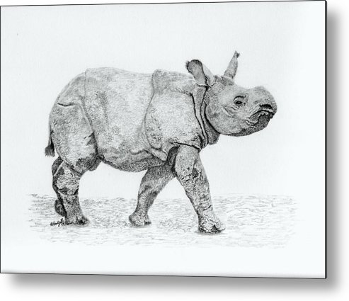 Baby Rhino Metal Print featuring the drawing Wait Up Mom by Wendy Brunell