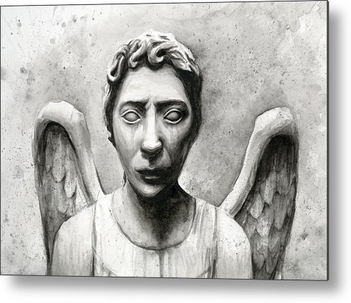 Who Metal Print featuring the painting Weeping Angel Don't Blink Doctor Who Fan Art by Olga Shvartsur