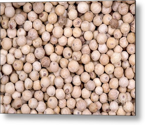 White Metal Print featuring the photograph White Peppercorn Background by Jane Rix